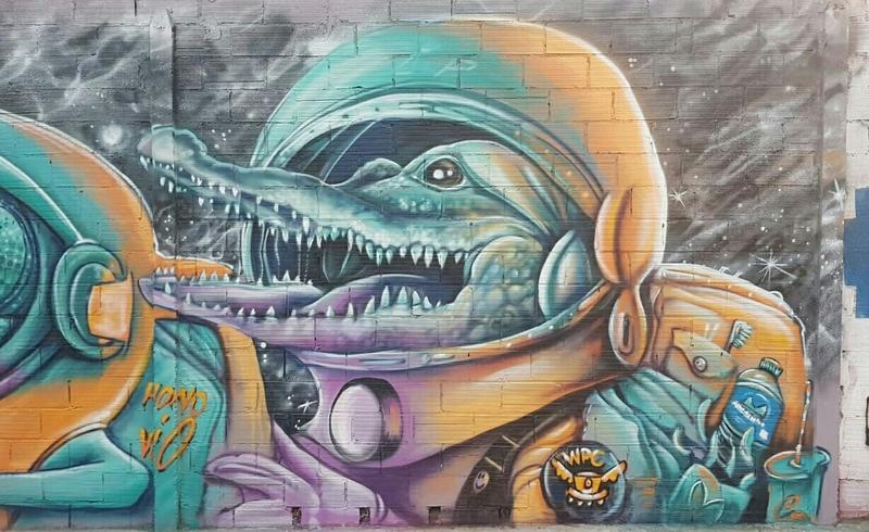 Wallspot - Hono - Reptiles galacticos Maria Reverter / Nemesi Vallsr - Barberà del Vallès - Maria Reverter / Nemesi Valls - Graffity - Legal Walls - Il·lustració