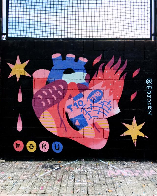 Wallspot - Maruhrz - títol esgotat - Barcelona - Drassanes - Graffity - Legal Walls - Lletres, Il·lustració