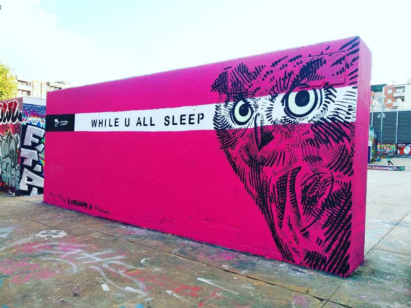 Wallspot - owlschoolcrew - while u all sleep - Barcelona - Tres Xemeneies - Graffity - Legal Walls - Letras, Ilustración, Stencil