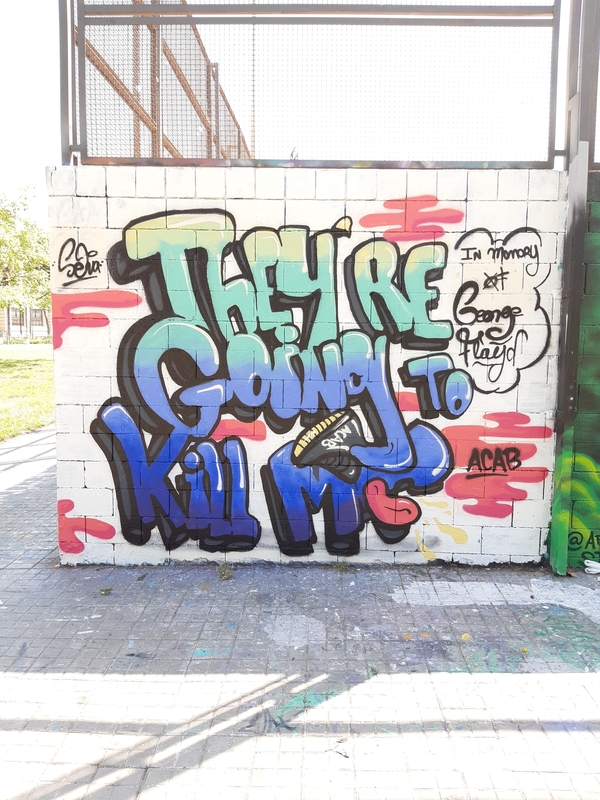 Wallspot - selva - In Memory of George Floyd - Barcelona - Drassanes - Graffity - Legal Walls - Letters, Illustration