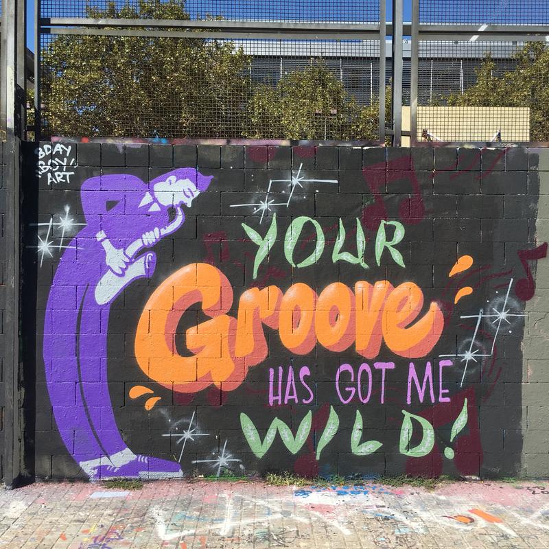 Wallspot - BDAY BOY ART - Mutual Melody - Barcelona - Drassanes - Graffity - Legal Walls - Lletres, Il·lustració