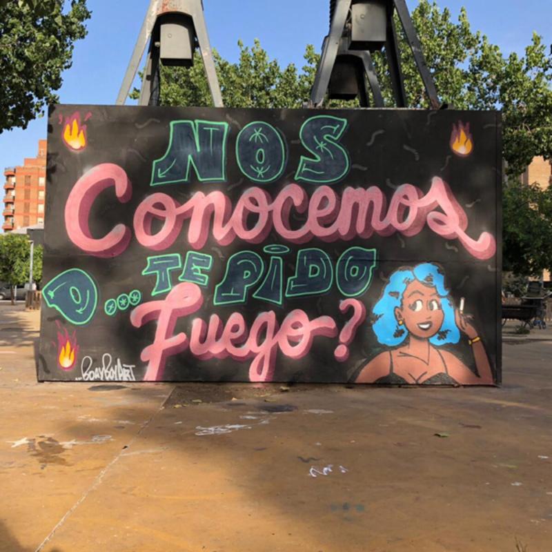 Wallspot - BDAY BOY ART - Nos conocemos o te pido fuego? 0001 - Barcelona - Tres Xemeneies - Graffity - Legal Walls - Letras, Ilustración