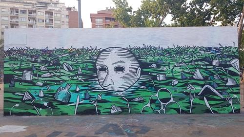 Wallspot -Kurva - Plastic Ocean - Barcelona - Tres Xemeneies - Graffity - Legal Walls - Illustration - Artist - disaikner