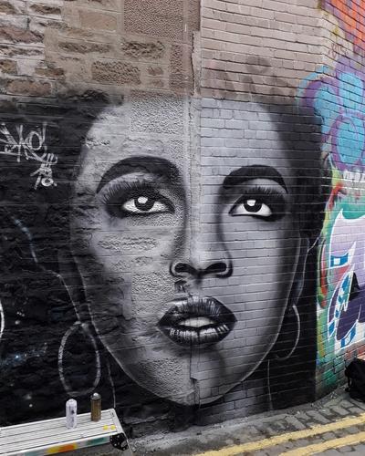 Wallspot - SYKE - Lauryn Hill portrait  - Dundee - Mary Ann Lane - Graffity - Legal Walls - Illustration