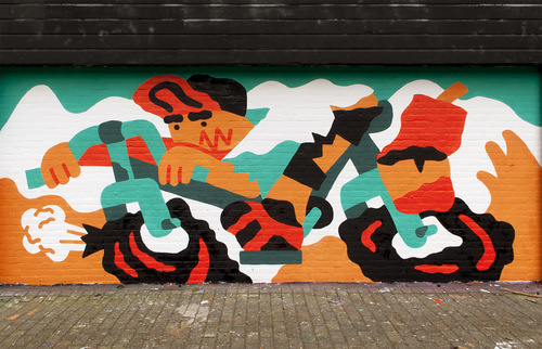 Wallspot - Thijs Lansbergen - Cycling - Rotterdam - Croos - Graffity - Legal Walls - Illustration