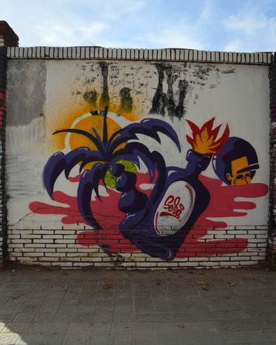 Wallspot -Splatrs - Fire bottle Selva de Mar - Barcelona - Selva de Mar - Graffity - Legal Walls - Illustration - Artist - selva